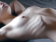 Slim chick shows her ribs 2