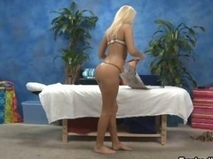 Sexy blonde chick getting excited taking
