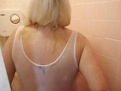 Jo Juggs in shower
