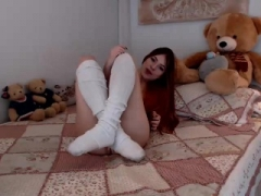 Holly great redhead teen toying pussy with a large dildo