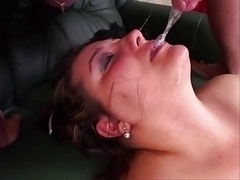 Plumpish females nice deepthroat and additionally cumshot on face