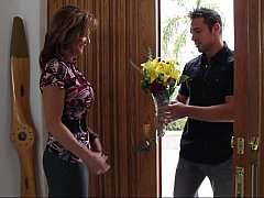Bringing flowers to his best buddy's mom