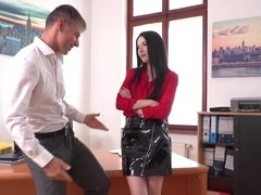 Secretary in a latex skirt gets naked and bangs the boss