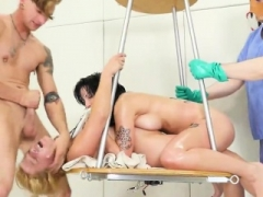 Aroused gal is brought in anal assylum for harsh treatment
