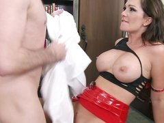 A brunette that has large tits is riding a big cock today