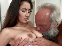 Grandpa Greets Teenage Lover in His Towel...