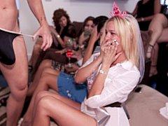 Blonde, Mariée, Brunette brune, Club, Mignonne, Groupe, Fête, Public