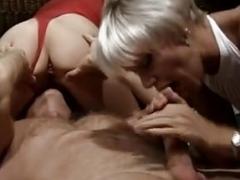 Short Hair Platinum Blonde Soccer mom Threesome