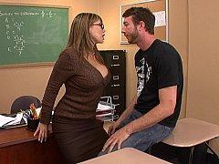 女, ハードコア, 淫乱熟女, オフィス, 教師