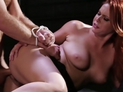Ginger kitten restrains guy for love hole getting down and dirty