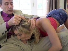 Naughty coquette grew up and wanted to be fucked by stepdad