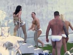 Swinger worship partying outdoors in reality show