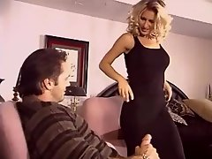 Big-breasted blonde mom i`d like to fuck getting down and dirty in black stockings