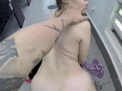 POV fucking of curvy babe Kimber Lee in a public bathroom