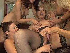 Nina Hartley gangbanged by these hot lesbian chicks