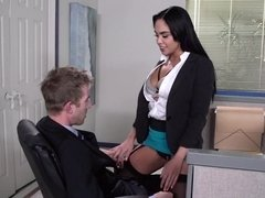 Cute Latina enjoys her break time at the new workplace
