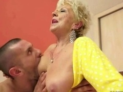 Hot breasty granny enjoys hard getting down and dirty