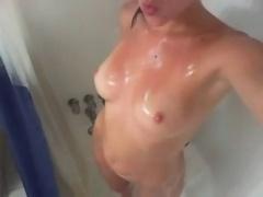 Self-shot shower masturbation