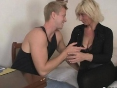 Grown-up blonde rides his stiff rod