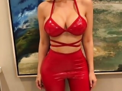 Incredible Blonde in Skin Tight Latex Leggings