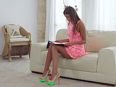 Supplementing her homework with pleasure