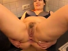 rotund milf gets fucked in the ass on kitchen table
