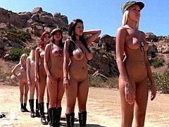 デカパイ, ブロンド, グループ, レズビアン, 裸, オッパイの
