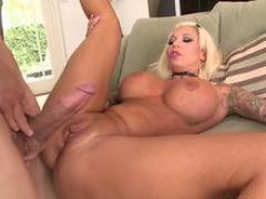 MILFGonzo largetitted tattooed blonde Lolly Ink fucks a large penis