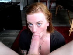 Innocent looking redhead gives bj on her knees in POV