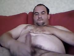 Chubby bear having a hot orgasm
