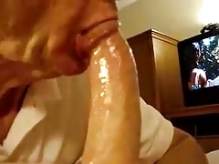 Old mature grandpa sucking a nice big dick