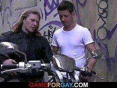 He invites hunk biker for pounding