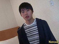 Asian teen jerking off