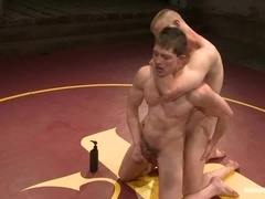 Two muscular queers fight on tatami and make gay love afterwards