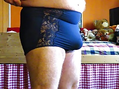 Blue ladypanty with large bulge
