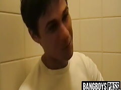 Twink gets banged in gas station toilet