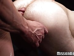 Tied up Mormon twink gets his hairy fuck stick jerked off