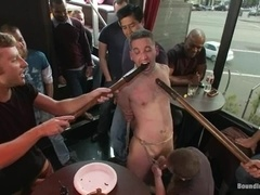 Tony Hunter gets his mouth and ass drilled in public