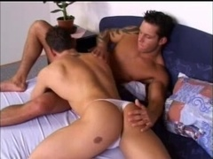 A muscular poofter gets his ass toyed and pounded doggy style
