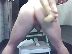 Giant Anal Dildo Gaping Joey D SEXY LOUD moaning