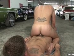 A homo takes a ride on his BF's dick and moans with pleasure