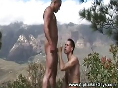 Gay ass eating on top of a mountain