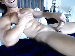 Sexy gay wanks his big cock