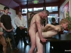 Gay bitch Brenn Wyson gets his ass toyed and fucked hard in a cafe