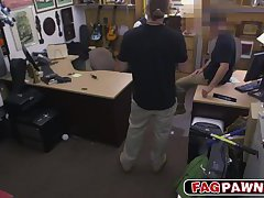 Sexy bitch dude fucked in pawn shop and filmed by hidden cameras