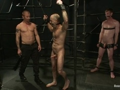 Adam Russo and one more gay get tormented and fucked by Brenn Wyson