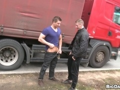 Lustful homos Savkov and Greg have sex near garage