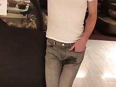 Boy piss in his pants in public