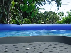 Fat belly in the pool