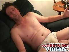 Mature guy with glasses playing with his cock and balls
